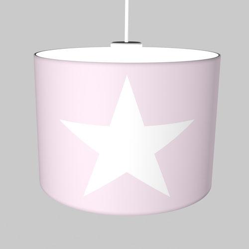 Neue Kinderhängelampe Pastell-rosa mit weißem Stern