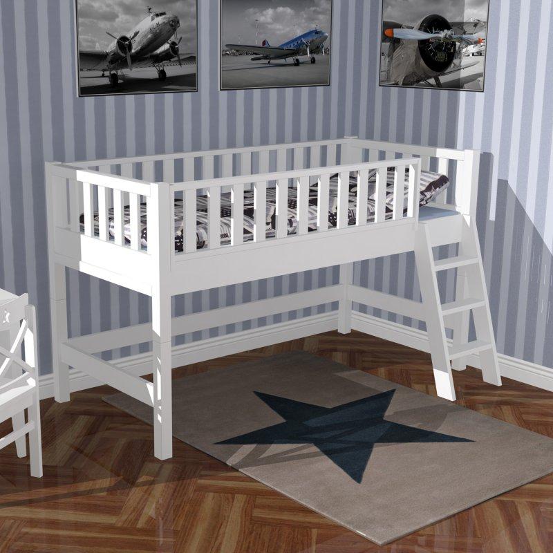 hochbett roomstar 125cm weiss umbaubar zum basisbett tagesbett d 799 00. Black Bedroom Furniture Sets. Home Design Ideas