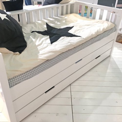 ROOMSTAR Daybed II, white, with guest bed and add. drawer for storage, 90x200cm