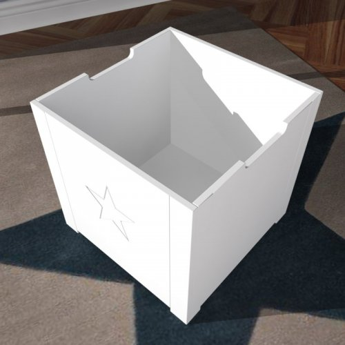 ROOMSTAR Stool toybox with storage, white, 40x40cm