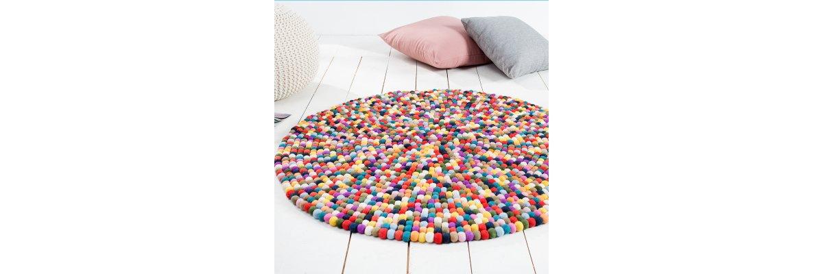 Bunter weicher Teppich aus Filz, 100cm -