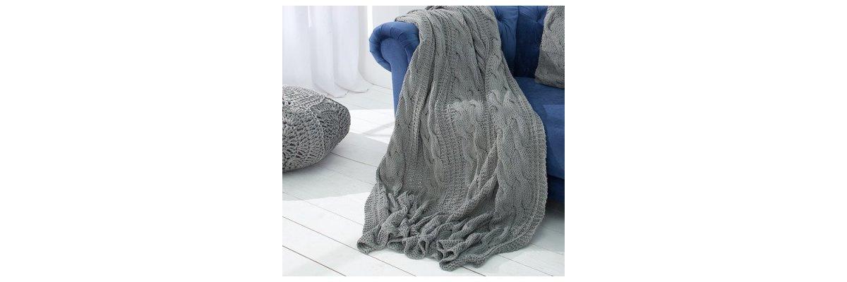 Gemütliche Decke EMMA, 130x170cm, grau aus Strick, nur 29,90€ - Gemütliche Decke EMMA, 130x170cm, grau aus Strick