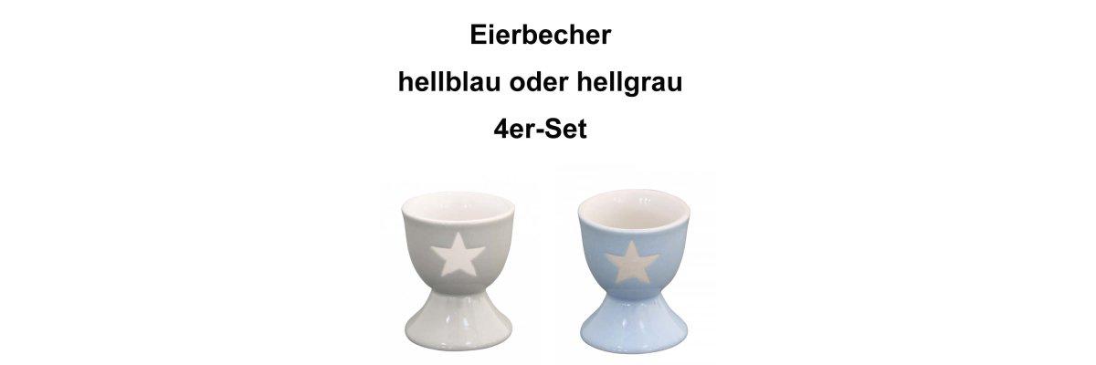 4 Stück Eierbecher STAR, grau oder blau, Stern weiss, Höhe: 6cm -