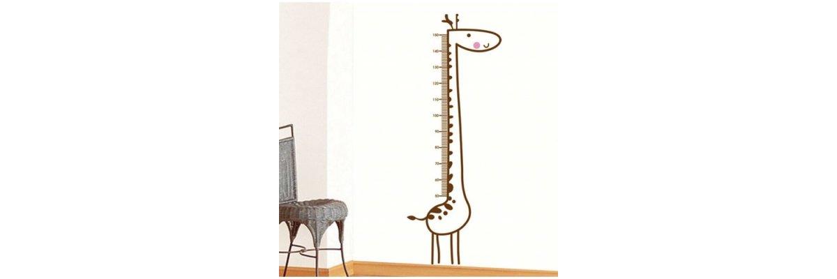 Aufkleber MESSLATTE Motiv Giraffe, bis 150cm Größe - Aufkleber MESSLATTE Motiv Giraffe, bis 150cm Größe