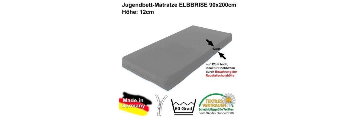 Über 5000x verkauft - Hochbett- Kindermatratze ELBBRISE, 90x200x12cm, ÖKOTEX-100