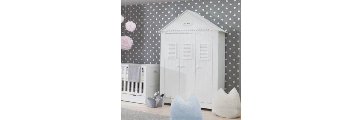 3-türiger Kleiderschrank LA MER® - 3-türiger Kinderzimmer Kleiderschrank LA MER®, weiß, Breite: 145cm