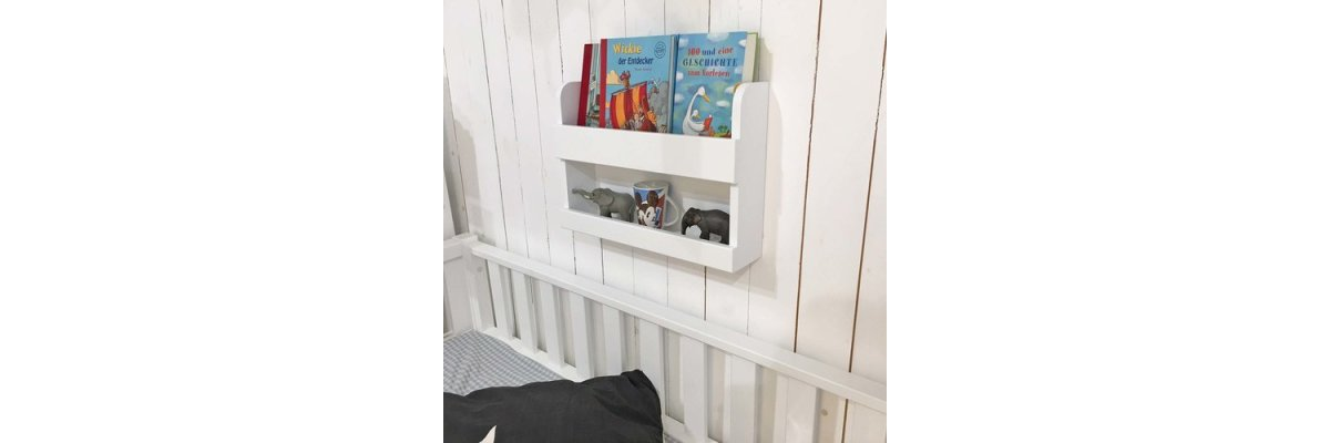 Endlich wieder lieferbar: - Bücherregal Wandregal, Getränkeablage, weiss, Breite 50cm