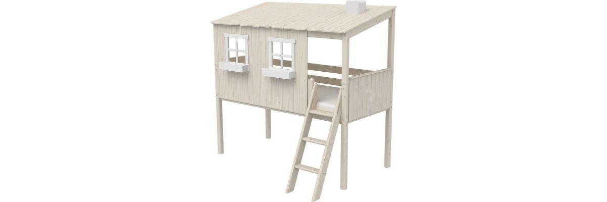 FLEXA Classic halbhohes Bett mit ganzem Baumhaus Aufsatz mattweiß/weiß - FLEXA Classic halbhohes Bett mit ganzem Baumhaus Aufsatz mattweiß/weiß