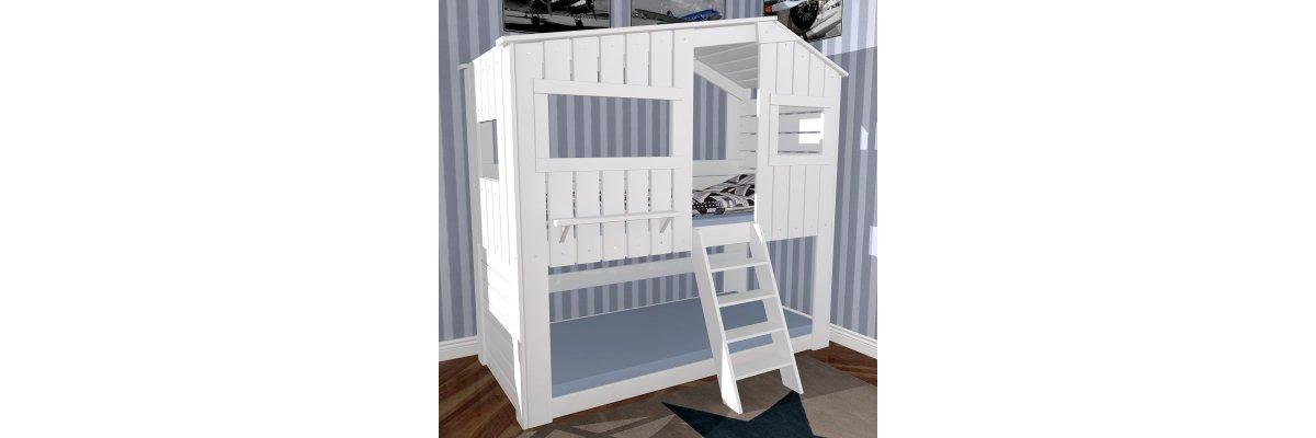 Ende Oktober: STRANDHAUS DE LUXE verfügbar zu 1.199,00€ - Hochbett Etagenbett Strandhaus de luxe, weiss, 90x200cm, Massivholz