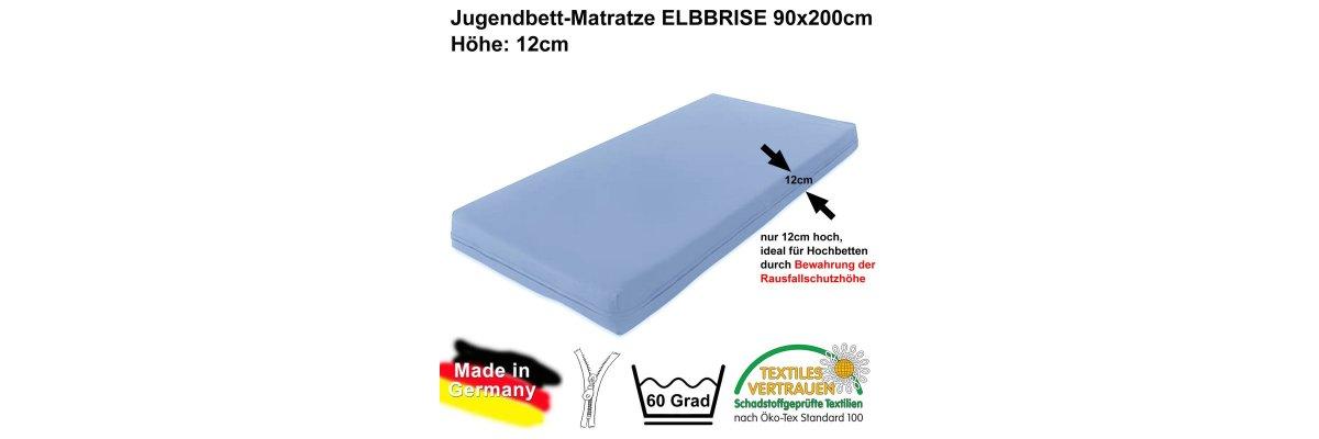 MADE IN GERMANY: Hochbett-Matratze ELBBRISE, 90x200x12cm - MADE IN GERMANY: Hochbett-Matratze ELBBRISE, 90x200x12cm, Ökotex-100 schadstoffgeprüft