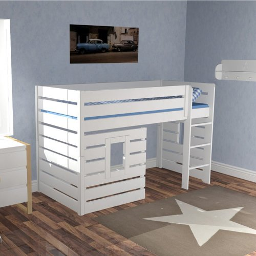 DANNENFELSER high bed BEACH, white, 138cm height