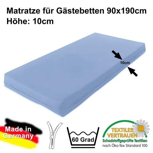 Spezielle Matratze für Gästebetten MOON, 10cm Höhe, 190x90cm, ÖKOTEX-100