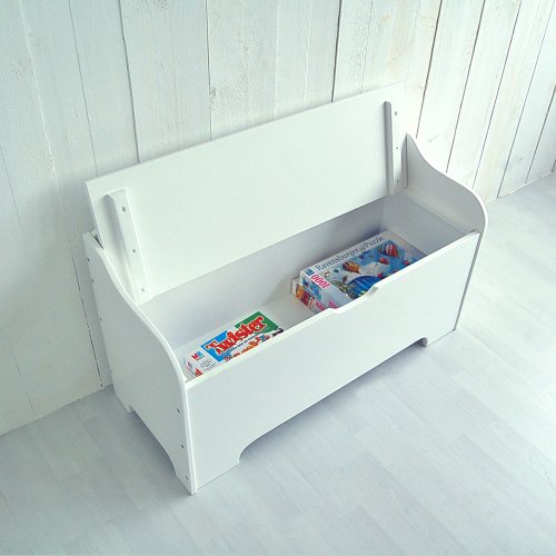 ROOMSTAR kids bench with storage and STAR, white, 100cm