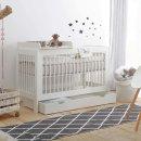 Babybett SQUARE für kleine Räume, inkl. Wickelaufsatz, weiss