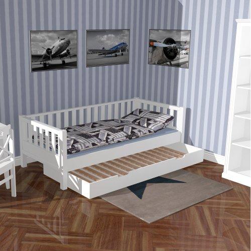 Gästebettschublade ROOMSTAR, für Matratzen 90x190cm, weiss, mit Lattenrost
