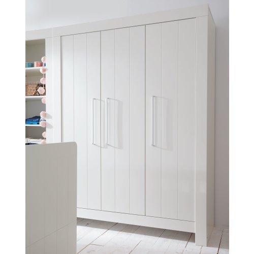 Kleiderschrank COTTAGE, 3-türig, grau oder weiss, Breite: 156cm, Höhe: 204cm