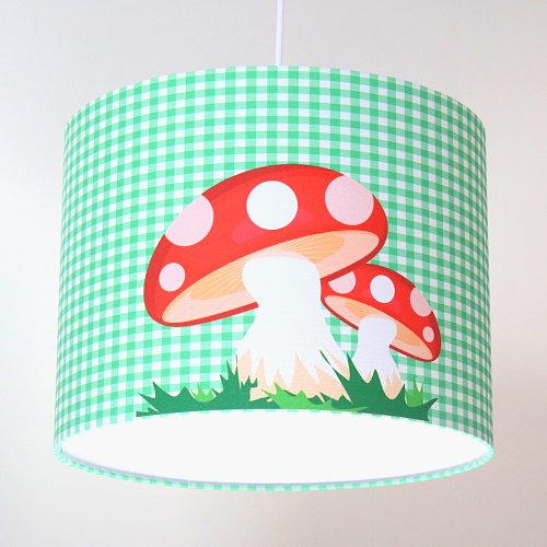 Kids room ceiling lamp PILZI, green/white checked, incl. cabel