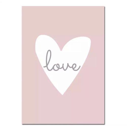 Kinderzimmer-Bild LOVE, Herz pink, 40x50cm, auf Leinen