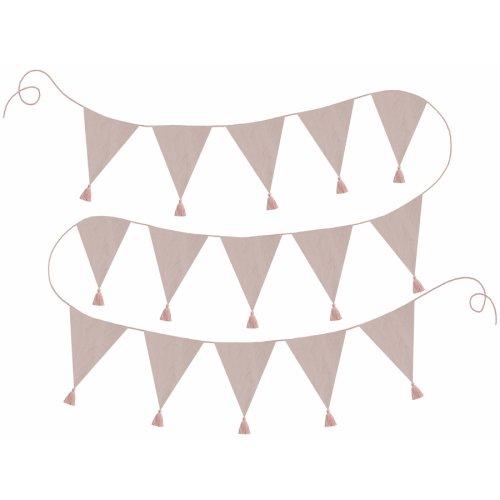 Wimpelkette Mädchen - rosa gemustert, 12 Wimpel, Länge: 3,2m
