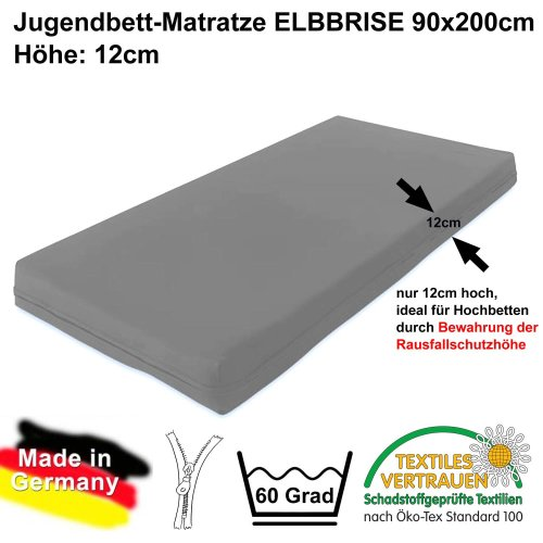 Kids- and Youth mattress ELB-BREEZE, for high beds, 90x200cm