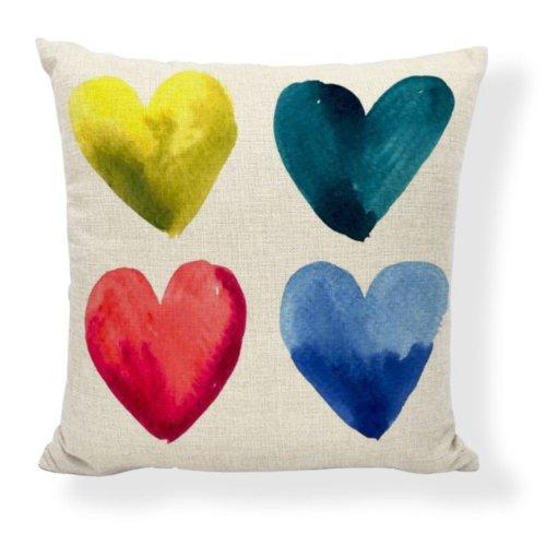 Kissen HERZ, 4 bunte Herzen, Motiv HEART, 45x45cm