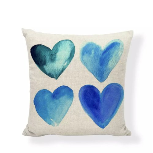 Kissen HERZ, 4 blaue Herzen, Motiv HEART, 45x45cm