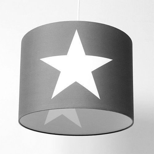 Hängelampe ROOMSTAR grau mit Stern weiss, Diameter 35cm