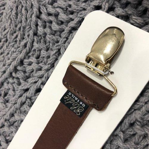 Schnullerkette ELODIE, Echt-Leder braun, Länge 19cm