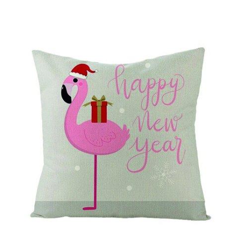 Kissenhülle FLAMINGO HAPPY NEW YEAR, 45x45cm, Leinen