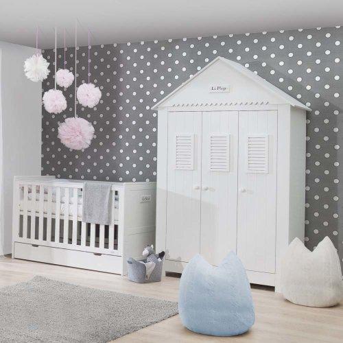 3-türiger Kinderzimmer Kleiderschrank LA MER®, weiß, Breite: 145cm