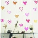 Wand-Aufkleber-Set HERZ, verschiedene Motive, 16 Stück