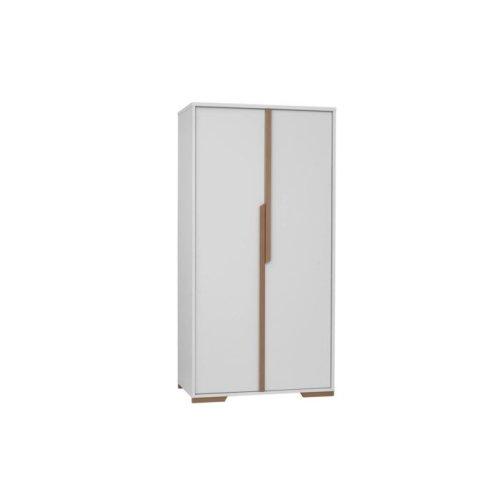 Kleiderschrank 2-türig KOPENHAGEN, weiß/Holz oder grau/Holz, Breite: 98cm