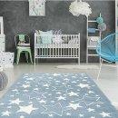 XL Kinderteppich STAR, 160x230cm, hellblau Sterne weiss