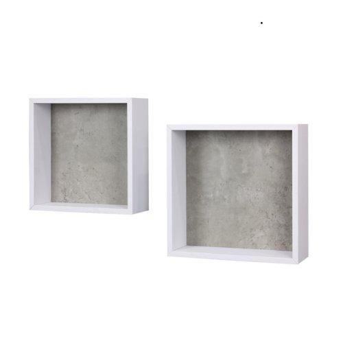 2er Set Wandregale Cube, Farbe Weiss/Betonfaben