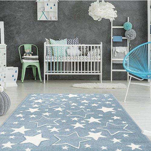 Kinderteppich STAR, 120x170cm, hellblau Sterne weiss