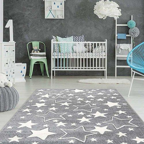Kinderteppich STAR, 120x170cm, grau Sterne weiss