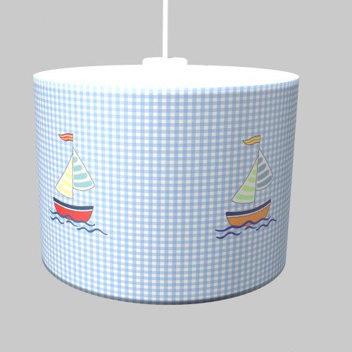 Hanging lamp Sailing ship, blue-white checked, diameter 35cm