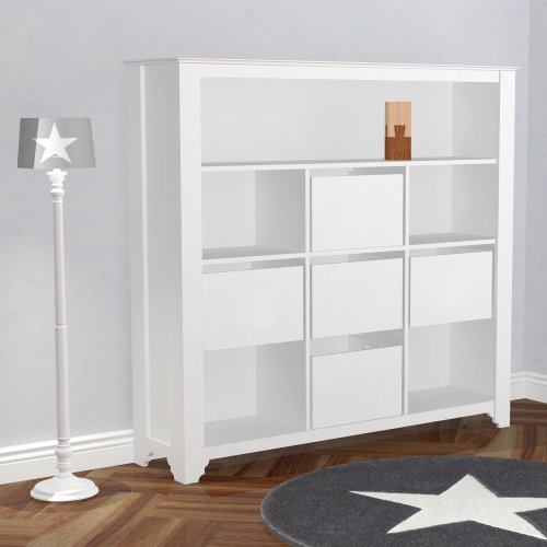 xl kinderregal b cherregal pretty weiss 10 f cher 152cm breite d 499 00. Black Bedroom Furniture Sets. Home Design Ideas