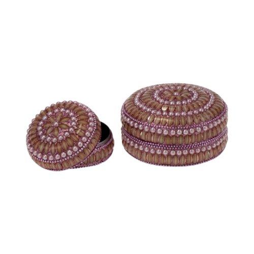 Dose mit Perlen 2-teilig, rosa Glimmer, 2 Größen