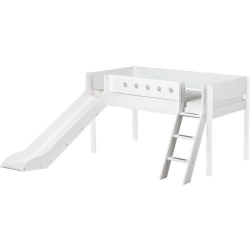 Kopie von FLEXA Classic halbhohes Bett mit ganzem Baumhaus Aufsatz mattweiß/weiß
