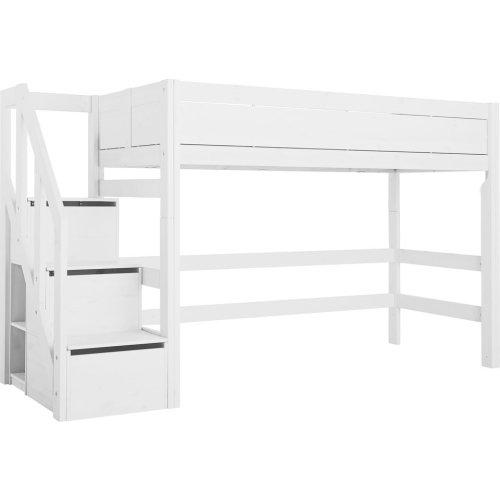 Lifetime Hochbett 152cm  mit Treppe und Deluxe Rollboden weiß, 49191-10