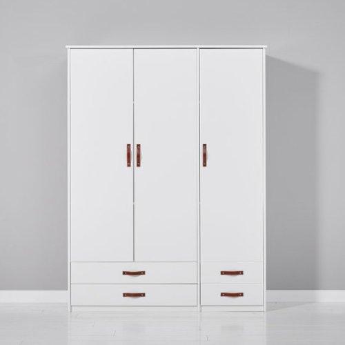 COOL KIDS Kleiderschrank mit 3 Türen, 4 Schubladen, Ledergriffe, weiß,  4260