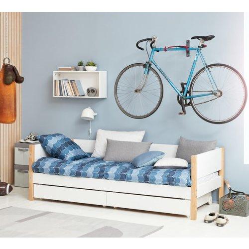 FLEXA Nor Bett 90x200cm, 2 Schubladen, weiß/Eiche massiv