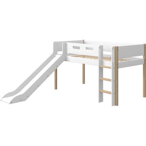 FLEXA Nor halbhohes Hochbett, gerade Leiter und Rutsche weiß/Eiche