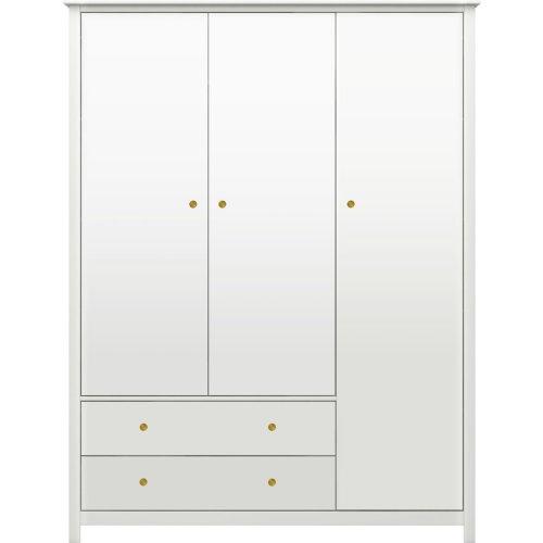 FLEXA Luna Kleiderschrank mit 3 Türen und 2 Schubladen weiß, Breite 146cm