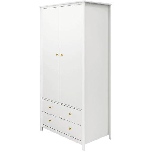 FLEXA Luna Kleiderschrank mit 2 Türen und 2 Schubladen weiß, Breite 101cm