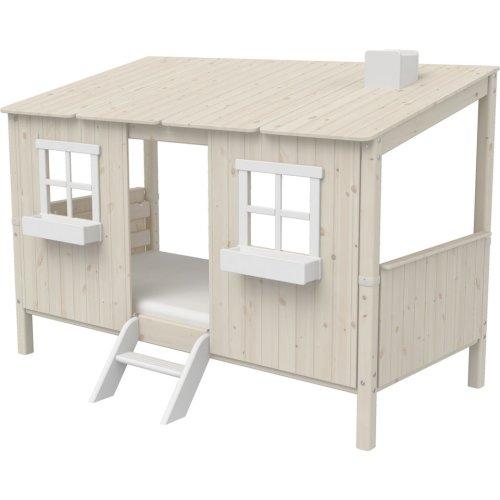 Kopie von FLEXA Classic halbhohes Bett mit Baumhaus Aufsatz mattweiß/weiß