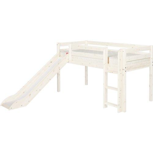 FLEXA Classic Halbhohes Bett mit senk. Leiter und Rutsche mattweiß