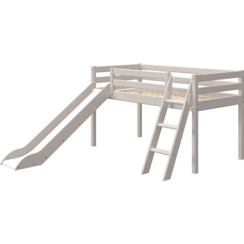 FLEXA Classic Halbhohes Bett mit Schrägleiter und Rutsche grau lasiert