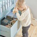Kojenbett FREJA von FLEXA, halbhoch, aqua blau, 4 große Schubladen